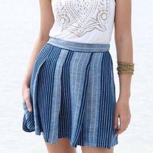 Ace & Jig Boro Striped Blue Linen Blend Skirt Sz M